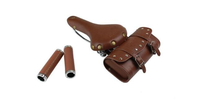 SPRUNG RIVETED CLASSIC VINTAGE LOOK BICYCLE SADDLE + BAG + GRIP TAN BROWN BLACK
