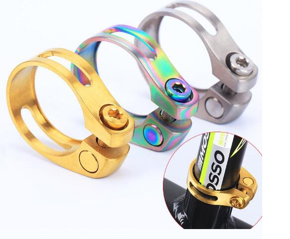 Titanium Alloy Bicycle Seat Post Clamp Bicycle Parts Abrazadera Tija 3Colors 18g 31.8mm/34.9mm Seatpost Clamping For MTB