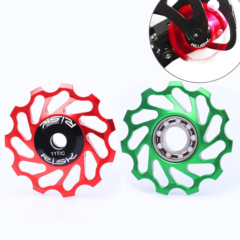 RISK mtb bike rear derailleur pulley Al 7075 cnc 11t ceramic Bearing jockey wheel for shimano xt derailleur 4 color